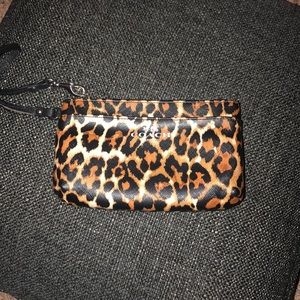 Authentic coach wristlet leopard print
